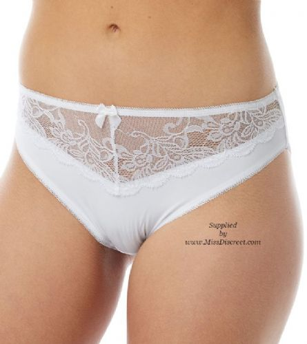 White High Leg Briefs with Semi Sheer Waist Panel & Lace Trim - Size UK  8 to 18